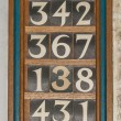 Stock Photo: Wooden Hymn board in Church or Cathedral