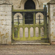 Old decaying wooden Church gate with green moss on — Stock Photo