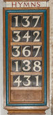 Wooden Hymn board — Stock Photo