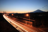 Mount Fuji and highway at sunset. — Stock Photo