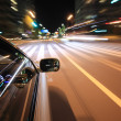 Night drive with car in motion. — Stock Photo