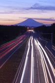Mount Fuji and traffic at sunset. — Stock Photo