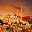 Hagia Sophia in Istanbul at dusk - Stock Photo