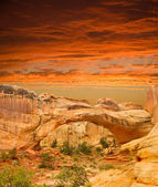Natural arch at sunset in Capital Reef National Park — Stock Photo
