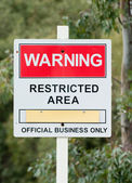 Restricted area sign at a nuclear power station — Stock Photo