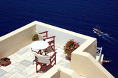 Patio on the greek island of Santorini — Stock Photo