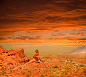 Sunset over the Valley of Fire State park — Stock Photo