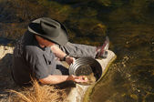 Gold panning — Stock Photo