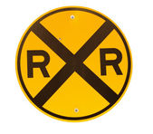 Railroad crossing sign — Stock Photo