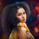 Beautiful Brunette Girl Portrait over Dark Background. Healthy B — Stock Photo #14063748