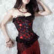 A beautiful sexy girl in a corset — Photo