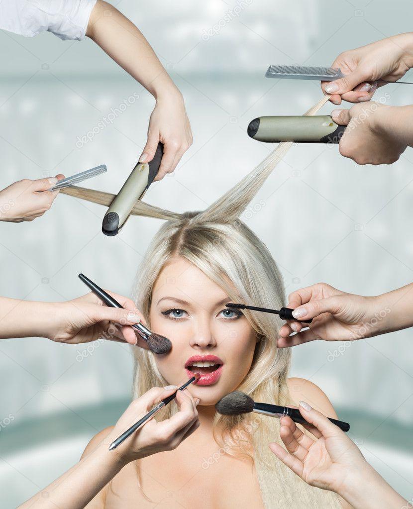 美丽的黑发女人画像和健康的头发图片