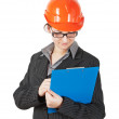 Woman in the construction helmet — Stock Photo