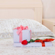 Stock Photo: Gifts and rose