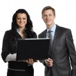Business associates with laptop — Stock Photo #18981215