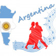 Map and flag of Argentina, next to a couple dancing on classical tango music — Stock Photo