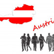 Foto Stock: Map and flag of Austrinext to silhouettes
