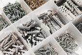 Box with Rawlplug and screws — Stock Photo