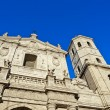 Detail facade of the Valladolid Cathedral with blue sky, Spain. — Stock Photo