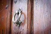 Heurtoir Arum sur la porte en bois — Photo