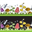 Stock Vector: Summer flowers and mushrooms on meadow