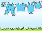 Baby boy clothes on clothesline - drawing — Stock Vector