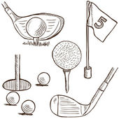 Golf collection - doodle style — Stock Vector