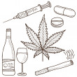 Illustration of narcotics - marijuana, alcohol and other — Stock Vector