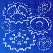 Illustration of gears on blueprint — Stock Vector