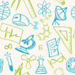 Science drawings  on seamless pattern — Imagen vectorial