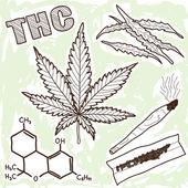 麻醉品-大麻的插图 — 图库矢量图片