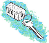 Illustration of house and key — Stock Vector