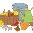 Illustration of garden tools and harvest basket — Stock Vector