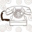Old vintage telephone - Stock Vector