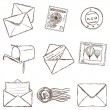 Illustration of mailing icons - sketch style — Stock Vector