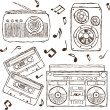 Collection of retro music hand-drawn illustration — Stock Vector