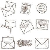 邮件图标-素描风格的插图 — 图库矢量图片
