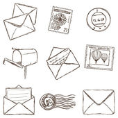Illustration of mailing icons - sketch style — Cтоковый вектор