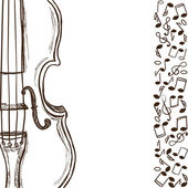 Violin or bass and music notes — Stock Vector