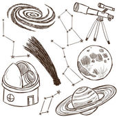 Set of astronomical objects — Stockvektor