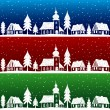 Vector de stock : Christmas village with church seamless pattern