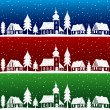 Christmas village with church seamless pattern — Stock Vector