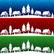 Christmas village with snow seamless pattern — Stock Vector