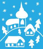 Jul kyrka och hus, hand - ritade stil — Stockvektor
