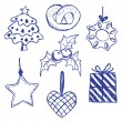 Stock Vector: Christmas symbols doodles set