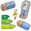 Illustration of batteries and energetic classes — Stock Vector #13605427