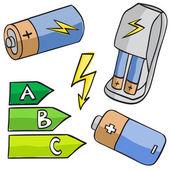 Illustratie van batterijen en energieke klassen — Stockvector