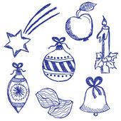 Christmas symbols doodles set — Stock Vector