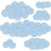 Spiral clouds, circles design elements — Stock Vector