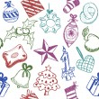 Christmas symbols doodles — Stock Vector